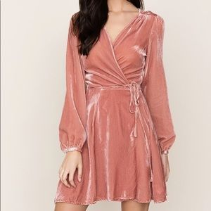 Yumi Kim Rose Pink Wrap Velvet Dress